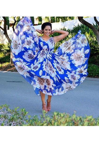 Blue Floral Print Belt Draped V-neck Chiffon Bohemian Beach Maxi Dress