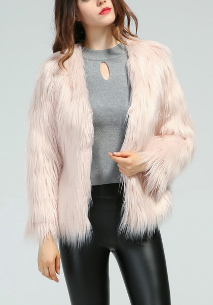 Pink Buttons V-neck Long Sleeve Fashion Faux Fur Coat