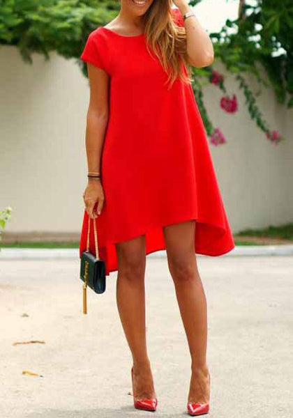 Red Irregular Round Neck Short Sleeve Fashion Midi Dress