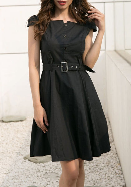 Black Single Breasted Belt Pleated Square Neck Cap Sleeve Office Worker Midi Dress