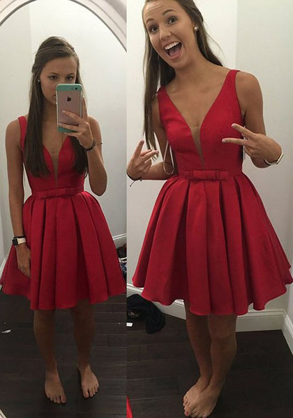 Red Zipper Belt Draped Plunging Neckline Homecoming Bridesmaid Party Mini Dress