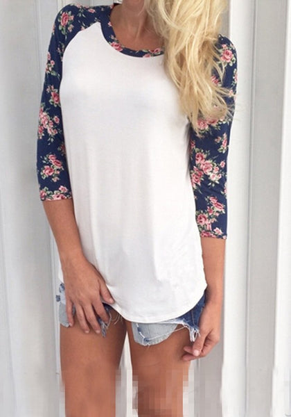 White Floral Round Neck 3/4 Sleeve Casual T-Shirt