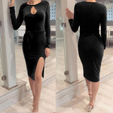 Black Cut Out Sashes Side Slit Bodycon Party Midi Dress