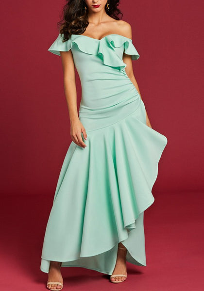Mint Green Pleated Irregular Ruffle Off Shoulder Evening Party Formal Elegant Maxi Dress