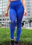 Blue Patchwork Grenadine Pleated High Waisted Yoga Sports Workout Long Legging