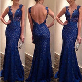 Blue Lace Cut Out Plunging Neckline Backless Maxi Dress