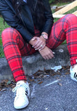 Red Plaid Print Gingham High Waisted Sports Yoga Workout Long Legging