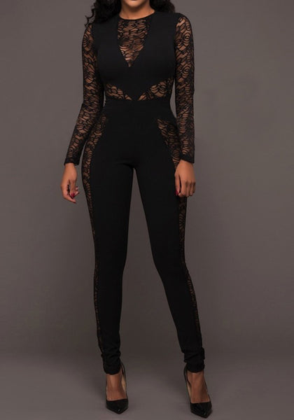 Black Patchwork Lace Zipper Elastic Waist Fashion Long Jumpsuit