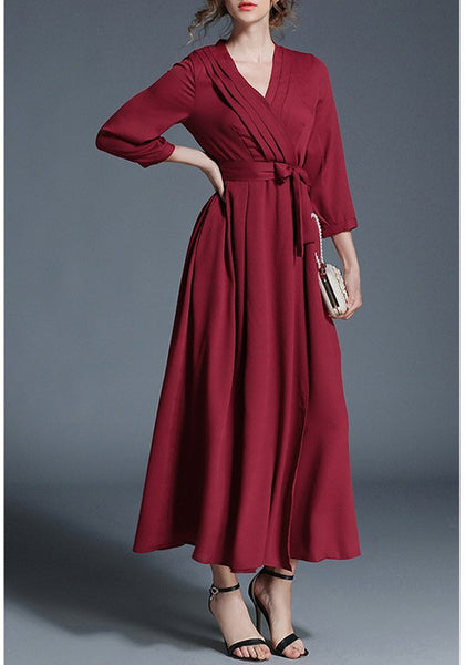 Red Draped Sashes Burgundy Elegant Party Maxi Dress