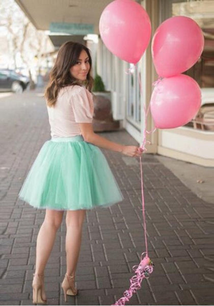 Mint Green Grenadine Pleated Fluffy Puffy Tulle High Waisted Sweet Skirt