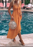 Yellow Cut Out Draped Knot Spaghetti Strap Flowy Bohemian Party Maxi Dress