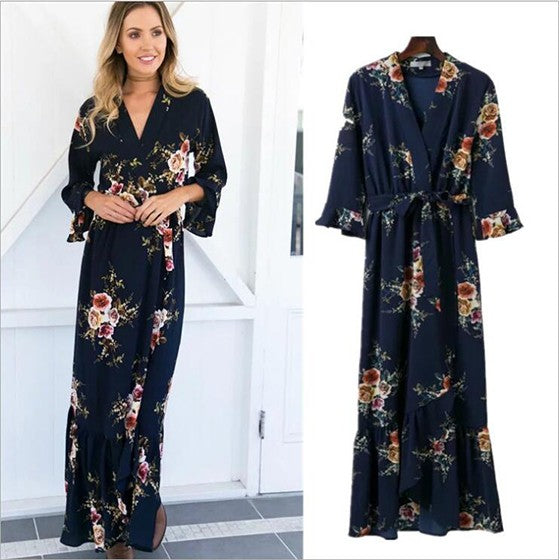 Black Flowers Sashes Irregular V-neck Fashion Maxi Dress