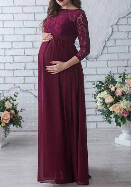 Burgundy Patchwork Lace Draped High Waisted Stylish Baby Shower Maternity Maxi dress
