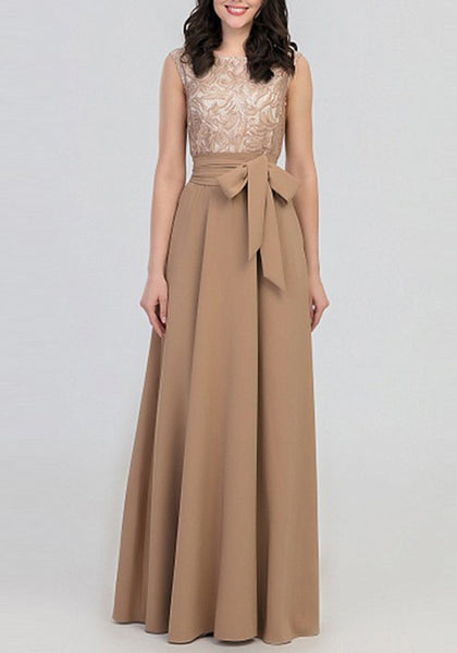 Khaki Patchwork Lace Bow Round Neck Elegant Prom Evening Party Maxi Dress