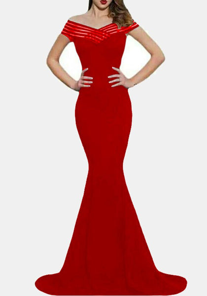 Red Boat Neck Off Shoulder Mermaid Elegant Homecoming Party Maxi Dress