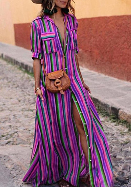 Purple Striped Single Breasted Pockets Turndown Collar Going out Blouse Maxi Dress