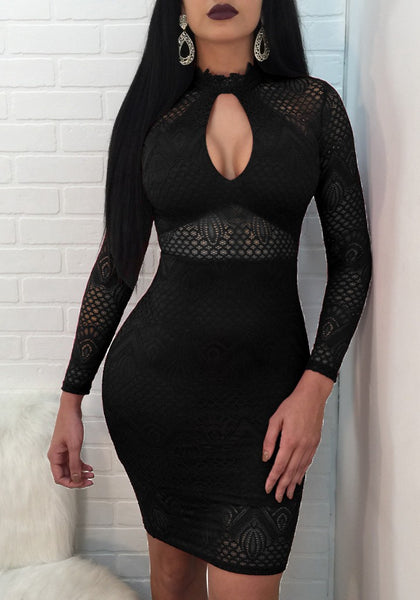 Black Lace Cut Out Zipper Slit Bodycon Clubwear Party Midi Dress