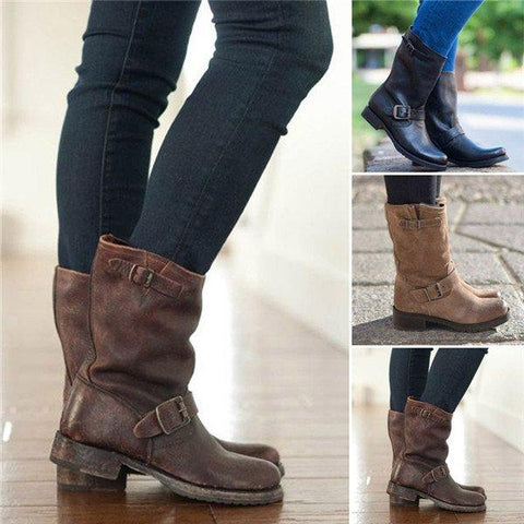 New Plus Size Adjustable Buckle Ankle Boots Block Heel Riding Boots