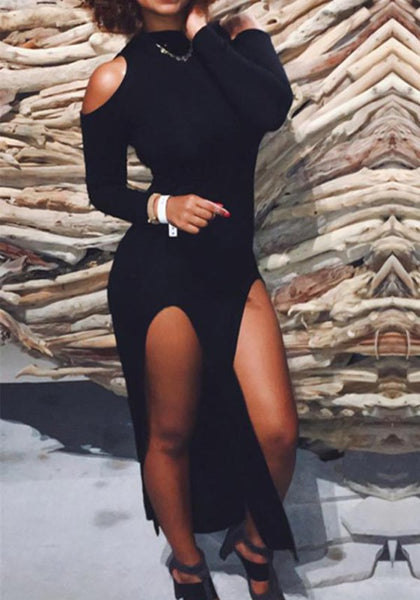 Black Side Slit Cut Out Sleeve High Waisted Clubwear Party Maxi Dress