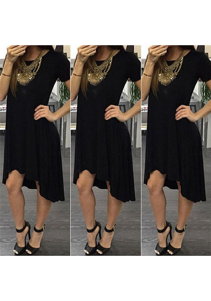 Black Draped Irregular Round Neck Short Sleeve Midi Dress