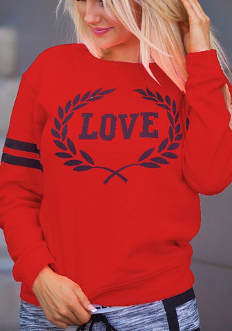 Red Letter Print Round Neck Long Sleeve Casual Pullover Sweatshirt