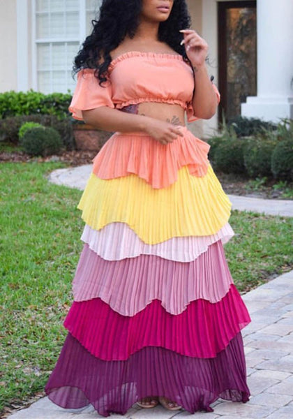 Pink Ruffle Off Shoulder Knot Two Piece Rainbow High Waisted Party Maxi Dress