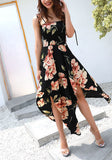 Black Floral Condole Belt Irregular Streetwear Maxi Dress