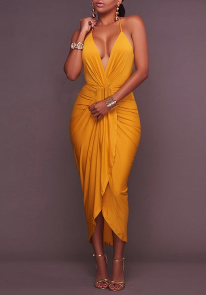 Yellow Pleated Irregular Backless Cross Back Halter Neck High-low Prom Party Maxi Dress