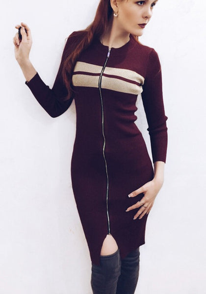 Red Patchwork Zipper Round Neck Long Sleeve Fashion Midi Dress