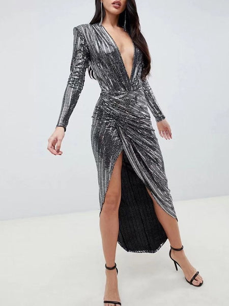Silver Bright Wire Long Sleeve Deep V-neck Casual Maxi Dress