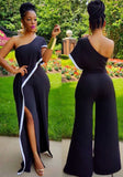 Black-White Patchwork Ruffle Asymmetric Shoulder Backless High Slit Wide Leg Long Jumpsuit