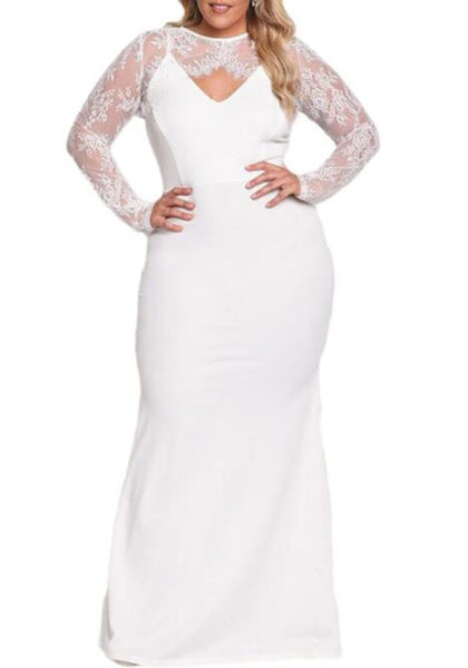 White Patchwork Lace Cut Out Long Sleeve Oversize Party Maxi Dress