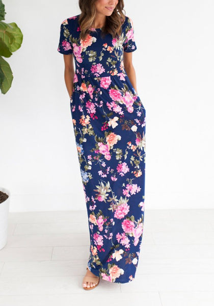 Navy Blue Flowers Print Draped Pockets Knot Going out Bohemian Maxi Dress