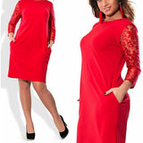 Red Patchwork Lace Round Neck Fashion Midi Dress