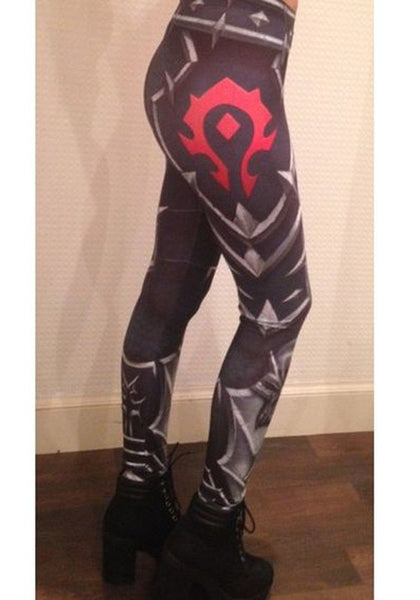 Black Cartoon World Of Warcraft Horde Print Elastic Waist Sports Legging