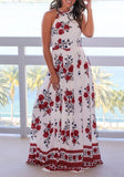 White Floral Round Neck Draped Sleeveless Off Shoulder Fashion Maxi Dress
