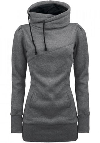 Grey Plain Drawstring Pockets Cowl Neck Plus Size Hooded Pullover Sweatshirt