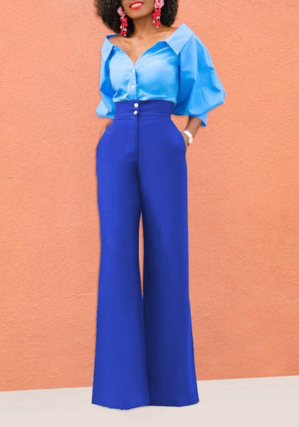 Blue Buttons Pockets High Waisted Elegant Office Worker/Daily Wide Leg Long Pants