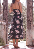 Black Floral Print Drawstring Slit Spaghetti Strap Backless Bohemian Party Maxi Dress