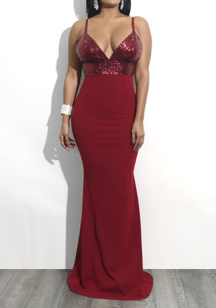Red Sequin Mermaid Spaghetti Strap High Waisted Backless Elegant Banquet Party Maxi Dress