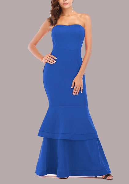 Blue Draped Off Shoulder Backless Bodycon Mermaid Banquet Elegant Party Maxi Dress