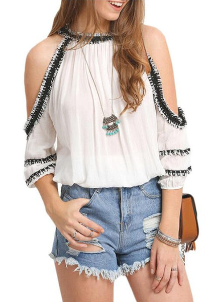 White Patchwork Cut Out Lace Round Neck Blouse