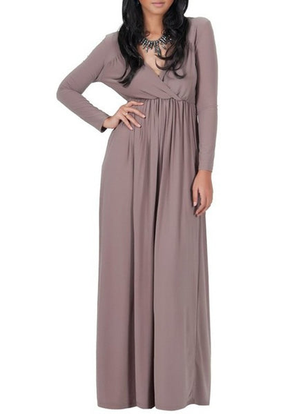 Khaki Draped V-neck Long Sleeve Plus Size Casual Maxi Dress