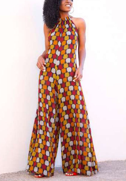 Yellow Tribal Floral Sewing High Waisted Wide Leg Loose Long Jumpsuit
