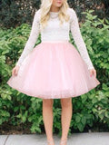 Pink Polka Dot Grenadine High Waisted Plus Size Skater Tutu Homecoming Party Skirt