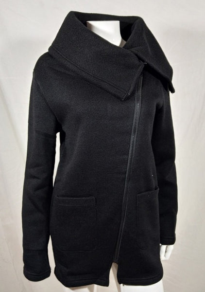 Black Pockets Plus Size Turndown Collar Zipper Cardigan Coat