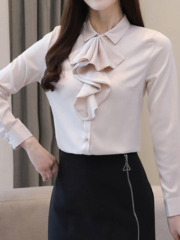 Apricot Single Breasted Buttons Cascading Ruffle Peter Pan Collar Long Sleeve Elegant Blouse
