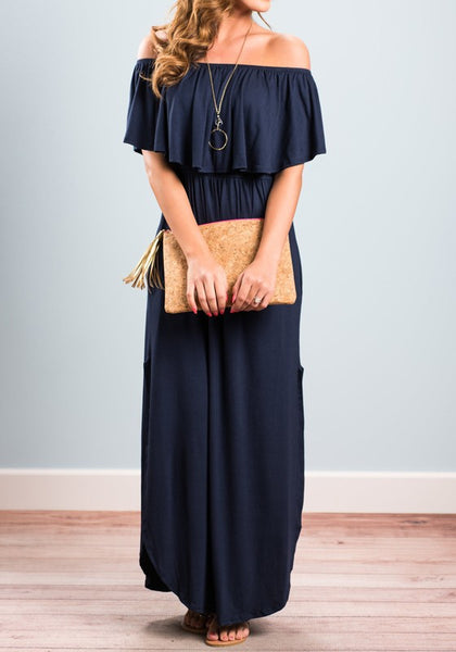 Dark Blue Pockets Off Shoulder Half Sleeve Double Slit Maxi Dress
