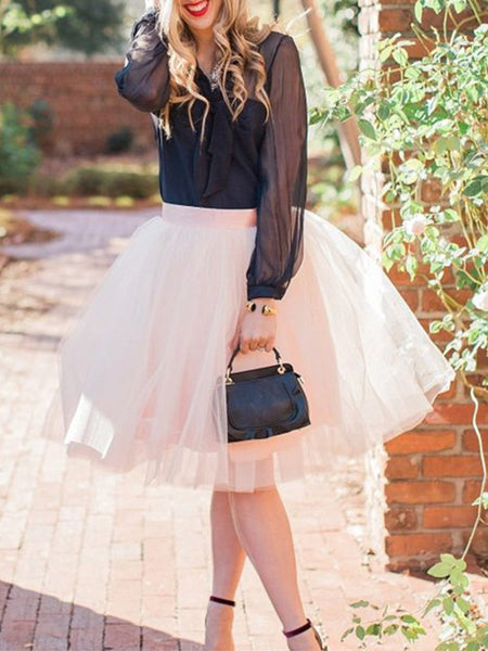 White Patchwork Grenadine Pleated High Waisted Party Skirt