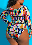 Blue-White Geometric Cut Out Crop Plus Size Long Sleeve Bikini Swimwear
